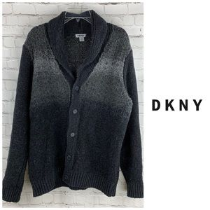 DKNY Grandfather Button Cardigan with Collar